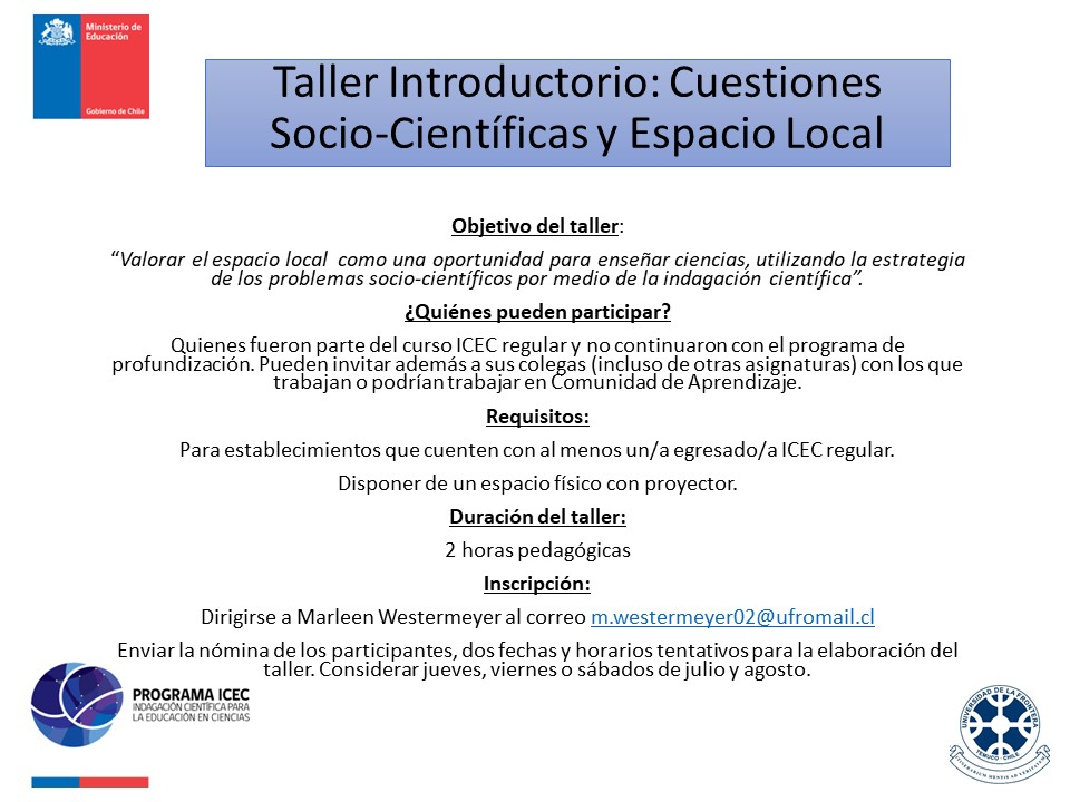 Taller Introductorio: Cuestiones Socio-Científicas y Espacio Local